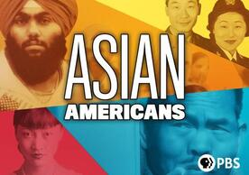 ASIAN AMERICANS in bold letters, with Asian people in the background of different colors