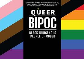 Queer BIPOC in rainbow background